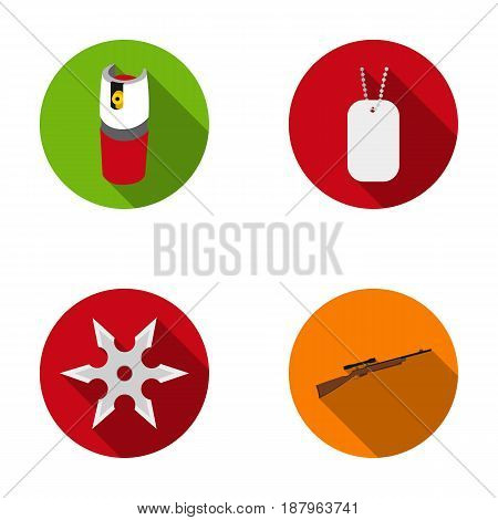 A gas cylinder, a soldier's token, a sniper rifle, a shuriken. Weapons set collection icons in flat style vector symbol stock illustration .