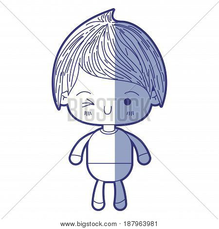 blue shading silhouette of kawaii little boy winking eye vector illustration