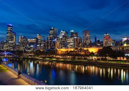 Melbourne Cbd, Central Business District Panorama At Night