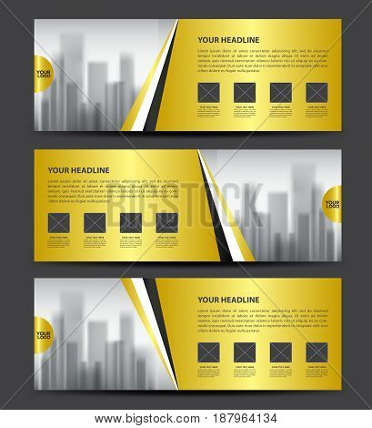 Gold Banner template vector Horizontal header advertising business flyer design