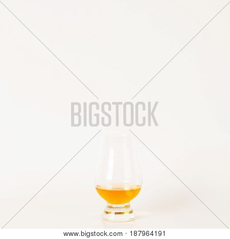 Single Malt Tasting Glass, Single Malt Whisky In A Glass, White Background