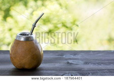 yerba mate in gourd matero with stuff