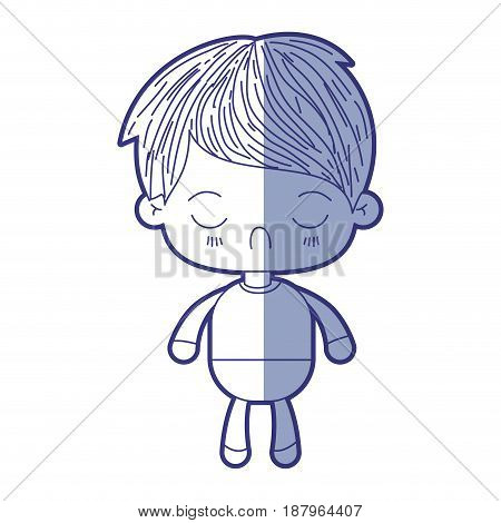 blue shading silhouette of kawaii little boy with facial expression disgust with closed eyes vector illustration