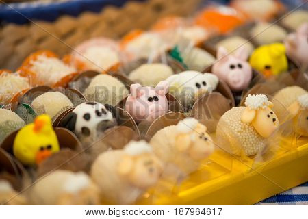 SAO PAULO, BRAZIL, 2017: Animals theme candy for a one year old party