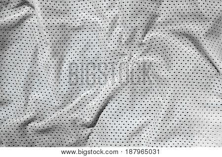 Sport Clothing Fabric Texture Background. Top View Of White Polyester Nylon Cloth Textile Surface. C