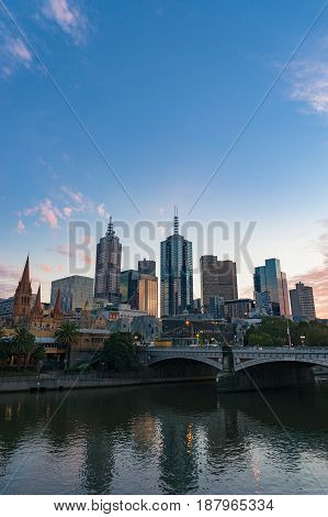 Melbourne Downtown Cityscape At Dusk