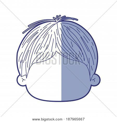 blue shading silhouette of faceless head of little kid with short wavy hair vector illustration