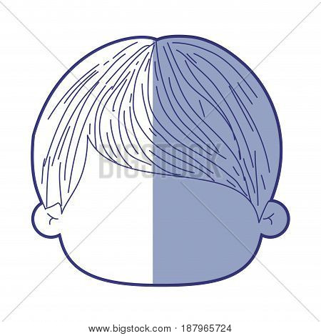 blue shading silhouette of faceless head of little boy with short straight hair vector illustration