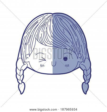 blue shading silhouette of kawaii head little girl with braided hair and facial expression wink eye vector illustration