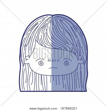 blue shading silhouette of kawaii head little girl with straight hair and facial expression bored vector illustration