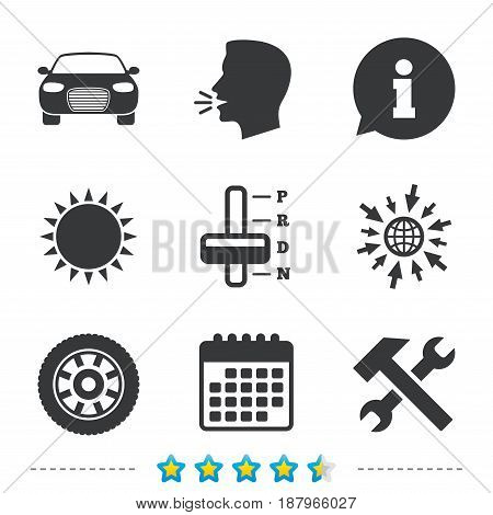 Transport icons. Car tachometer and automatic transmission symbols. Repair service tool with wheel sign. Information, go to web and calendar icons. Sun and loud speak symbol. Vector