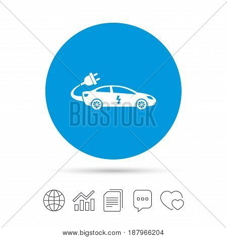 Electric car sign icon. Sedan saloon symbol. Electric vehicle transport. Copy files, chat speech bubble and chart web icons. Vector