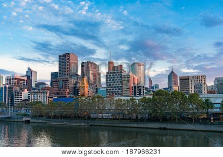 Melbourne Downtown Panoramic View In The Morning