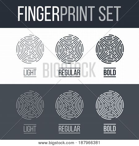Fingerprints Set Print for Identification Authorization System on Dark and White Background