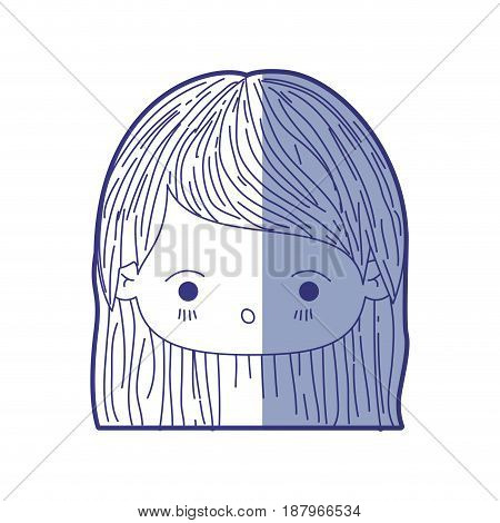 blue shading silhouette of kawaii head little girl with straight hair and facial expression surprised vector illustration