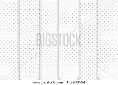 Set of abstract seamless patterns. Grey triangles and circles stars squraes and rhombus modern stylish textures. Vector