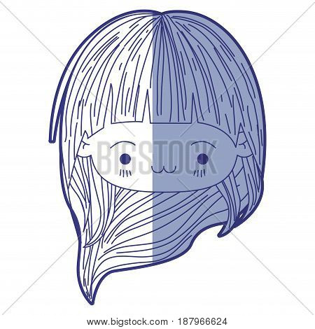 blue shading silhouette of kawaii head little girl with long hair and facial expression exhausted vector illustration