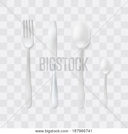 Cutlery Set. Silver Fork, Spoon and Knife. Top View Vector. Table Setting