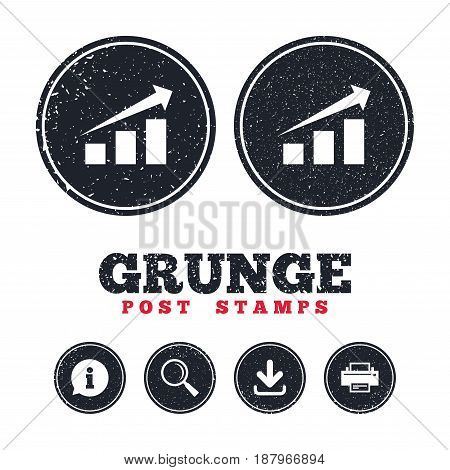 Grunge post stamps. Chart with arrow sign icon. Success diagram symbol. Statistics. Information, download and printer signs. Aged texture web buttons. Vector