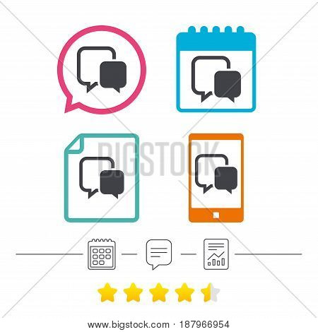 Chat sign icon. Speech bubble symbol. Communication chat bubble. Calendar, chat speech bubble and report linear icons. Star vote ranking. Vector