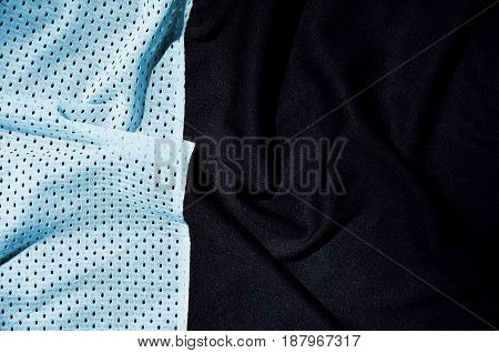 Sport Clothing Fabric Texture Background, Top View Of Light Blue Cloth Textile Surface