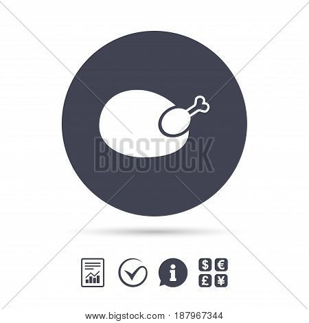 Chicken sign icon. Hen bird meat symbol. Report document, information and check tick icons. Currency exchange. Vector