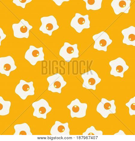 Fried eggs yellow seamless pattern is great as cover template, background, kitchen cloth print, childish pajama print, towel pattern, apron print, texture for kids materials. Breakfast pattern.