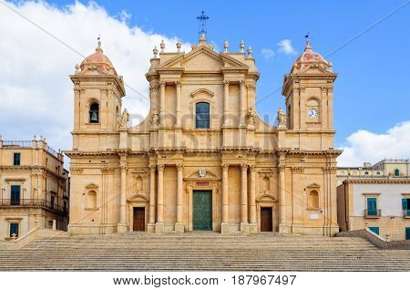 The facade of the beautiful Sicilian baroque Cathedral dedicated to Saint Nicholas - Noto Sicily Italy