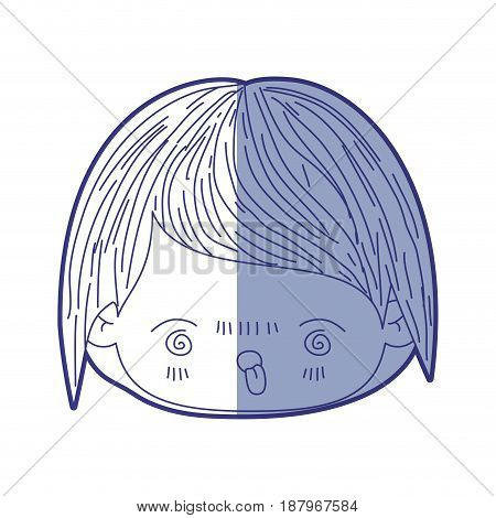 blue shading silhouette of kawaii head of little boy with facial expression furious vector illustration