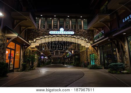 Pigeon Forge, Tennessee, USA - May 15, 2017: Market Street located at the Island outdoor shopping mall and entertainment area in Pigeon Forge, Tennessee.