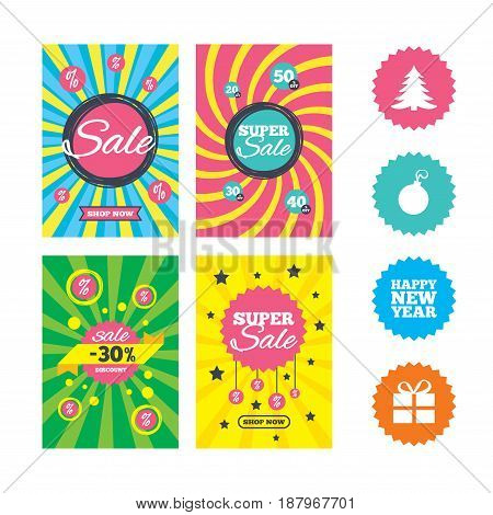 Web banners and sale posters. Happy new year icon. Christmas tree and gift box sign symbols. Special offer and discount tags. Vector