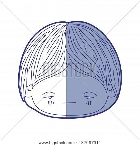 blue shading silhouette of kawaii head of little boy with facial expression nervous vector illustration