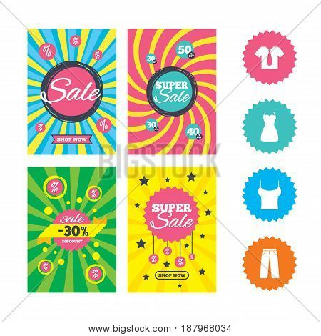 Web banners and sale posters. Clothes icons. T-shirt with business tie and pants signs. Women dress symbol. Special offer and discount tags. Vector