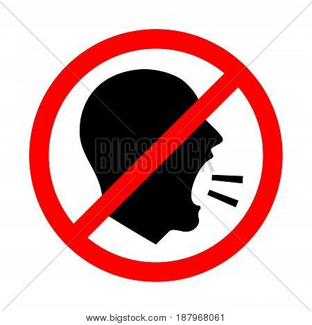 Don't Shout. Vector Illustration Of A Keep Quiet and Shouting Is Not Allowed Sign.