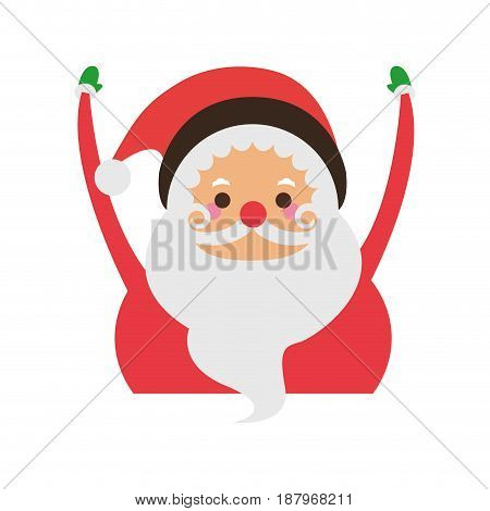 santa claus raising arms christmas character icon image vector illustration design