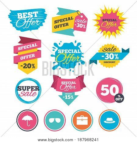 Sale banners, online web shopping. Clothing accessories icons. Umbrella and sunglasses signs. Headdress hat with business case symbols. Website badges. Best offer. Vector