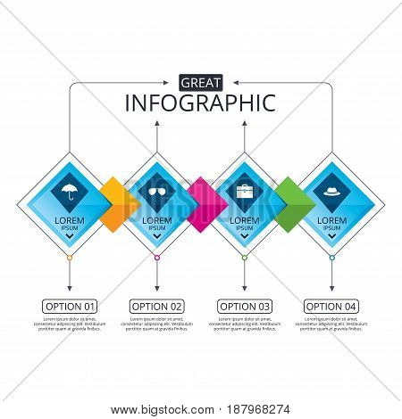 Infographic flowchart template. Business diagram with options. Clothing accessories icons. Umbrella and sunglasses signs. Headdress hat with business case symbols. Timeline steps. Vector