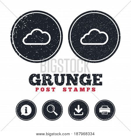 Grunge post stamps. Cloud sign icon. Data storage symbol. Information, download and printer signs. Aged texture web buttons. Vector