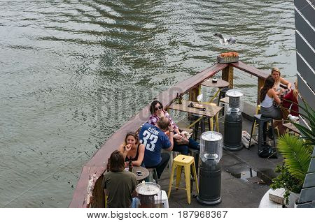 Melbourne Australia - April 20 2017: People relaxing and drinking in famous Pony Fish Bar