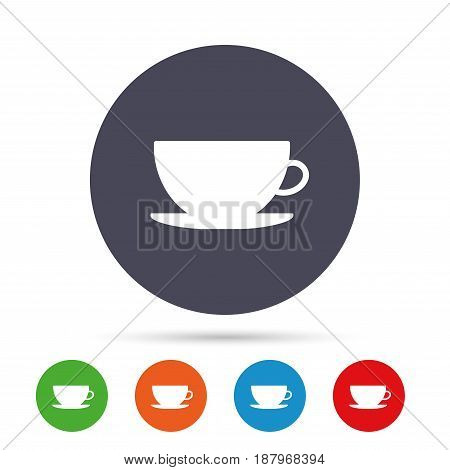 Coffee cup sign icon. Coffee button. Round colourful buttons with flat icons. Vector
