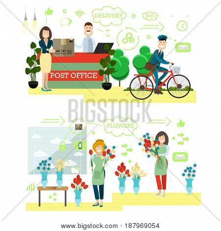 Fast delivery concept vector illustration. Postman, postal worker and client with parcel, florist creating flower arrangement. Mail and flower delivery flat style design elements, schemes, icons.