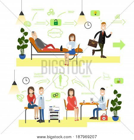 Vector set of medical staff providing health care to patients. Visiting doctor psychotherapist, dietitian and plastic surgeon flat style design elements, icons isolated on white background.