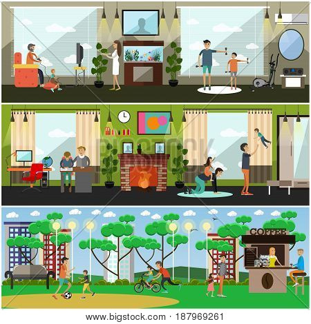 Vector set of posters, banners with fathers playing video and leisure games, walking in park, doing sport and homework with their children. Childcare and parenting concept flat style design elements.