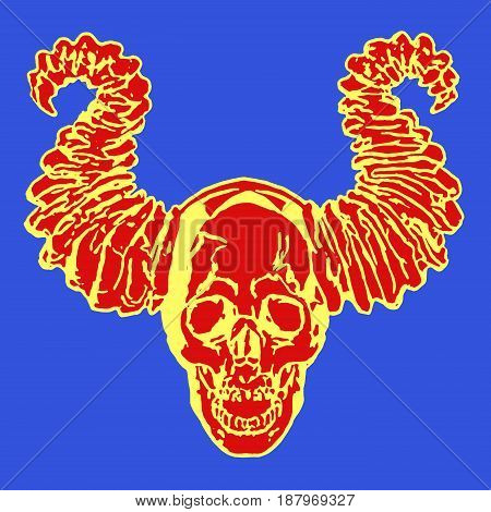 Apocalyptic demon skull with horns. Vector illustration. Blue background.