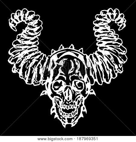 Skull of a demon with horns. Vector illustration. The horror picture to Halloween.