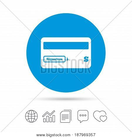 Credit card sign icon. Debit card symbol. Virtual money. Copy files, chat speech bubble and chart web icons. Vector