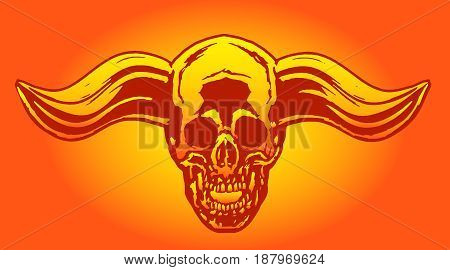 Apocalypse demon skull from hell with bullish horns.The horror picture to Halloween.Monsters massacre.Vector illustration.