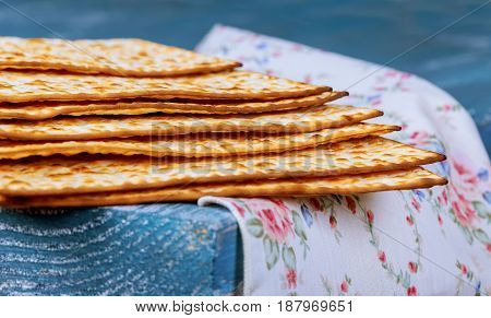 Stack Of Matzah Or Matza On A Vintage Wood Background With Copy Space.