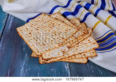 Jewish Bread Matza On Wood