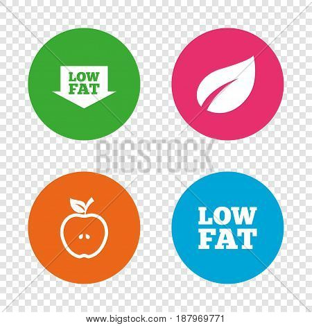Low fat arrow icons. Diets and vegetarian food signs. Apple with leaf symbol. Round buttons on transparent background. Vector